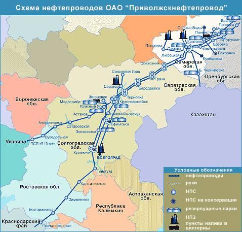 Схема нефтепроводов ОАО