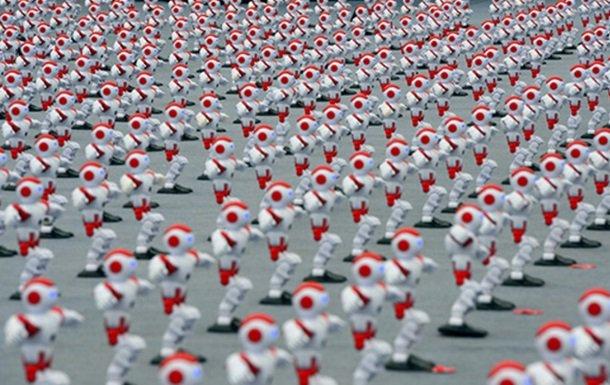 ВКитайской республике неменее 1 000 роботов станцевали синхронный танец
